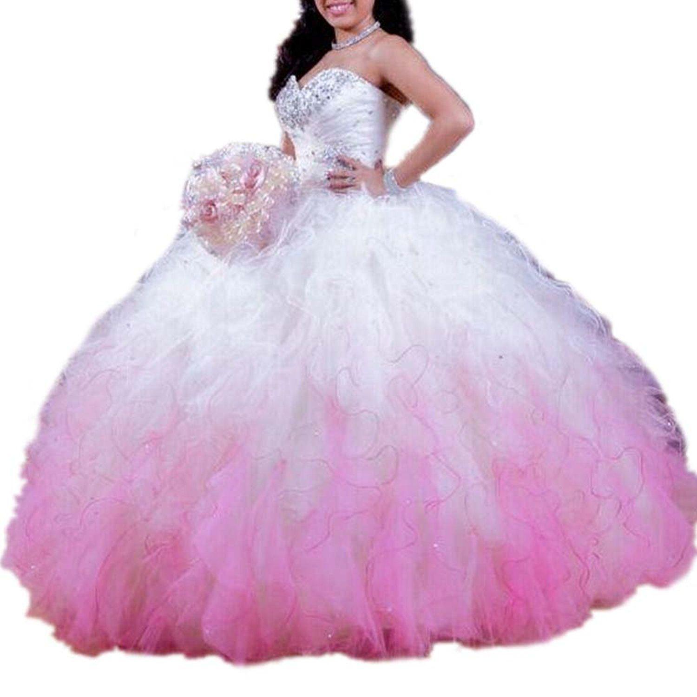 Drehouse womenus ombre beaded tutu sweet prom dresses tulle