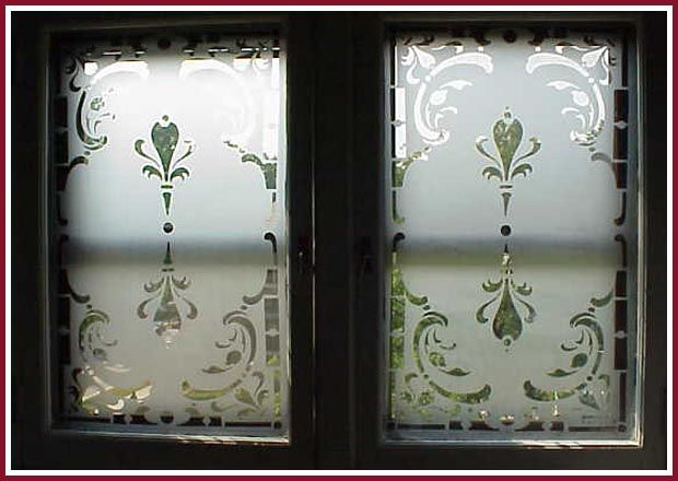 Etched double window done using egress etch glass etching stencils windows pinterest glass etching stencils glass etching and stenciling