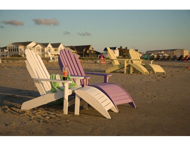 Breezesta Shoreline Adirondacks with Windsail Footrests   Recycled ...