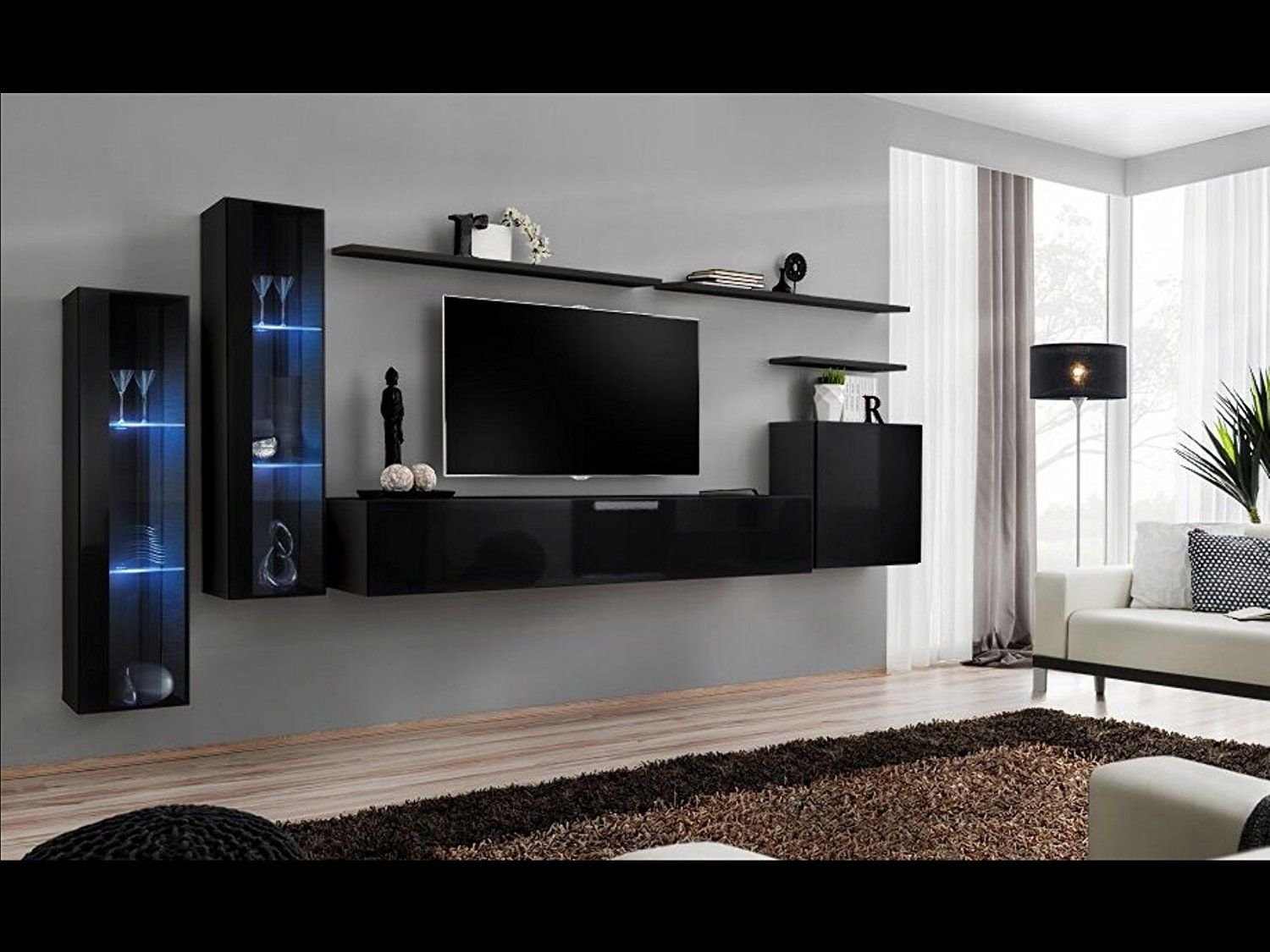 Shift Xi Seattle Collection High Gloss Living Room Furniture Floating Tv Cabinet