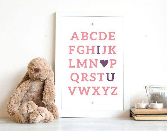 Nursery Printable | I love you Alphabet Print | Nursery Poster | Instant Download | Nursery Decor | 8x10,A4 | Girls decor | Wall Art  A printable