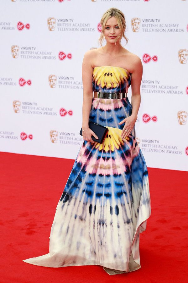 Laura Whitemore Wears A Sofia Dress With Jimmychoos Heels At The Bafta Tv Awards 2017