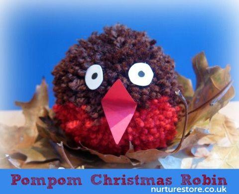 Cute: how to make a pompom robin - nice Christmas craft