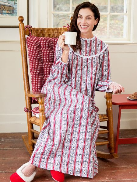 d3c0954917 Lanz Cranberry Tyrolean Flannel Nightgown