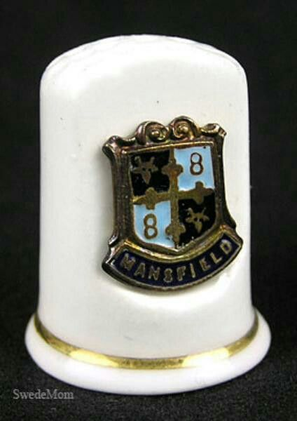 """This lovely fine bone china thimble features a gold painted rim and Mansfield Medallion.    Measuring 1.25"""" high thimble comes to you in EXCELLENT CONDITION, in it's original box.    Be sure to check out our other listings for more great gifts and collectibles! #swedemom"""