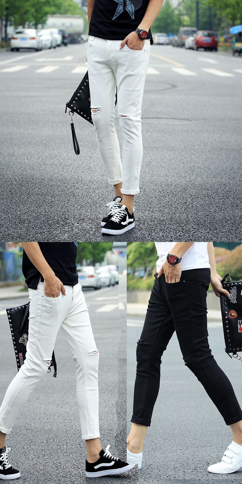 110c2936950 New Stylish Fashion Mens Personality Destroyed Denim Jeans Ankle-Length Pants  With Holes Male White Ripped Jeans for Men MB372