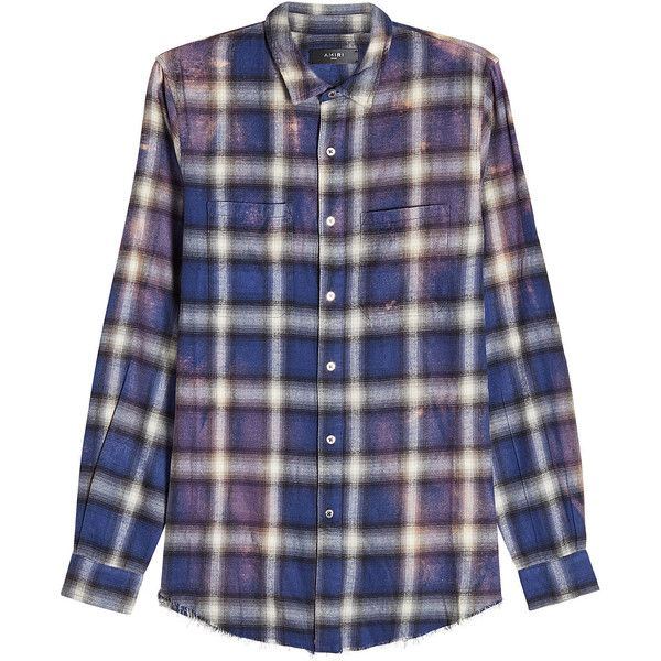 a66cf071753 Amiri Plaid Button Down Shirt ( 605) ❤ liked on Polyvore featuring men s  fashion