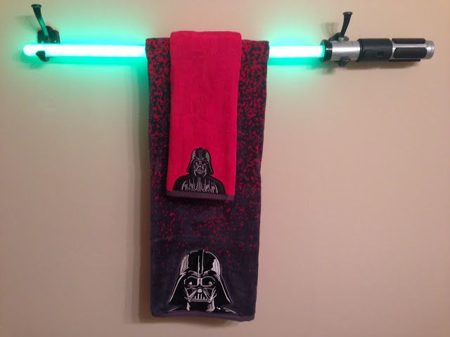 Trendy Mom Reviews Star Wars Bathroom Makeover With A Diy Light Saber Towel Bar Tutorial Star Wars Bathroom Star Wars Bedroom Star Wars Kitchen