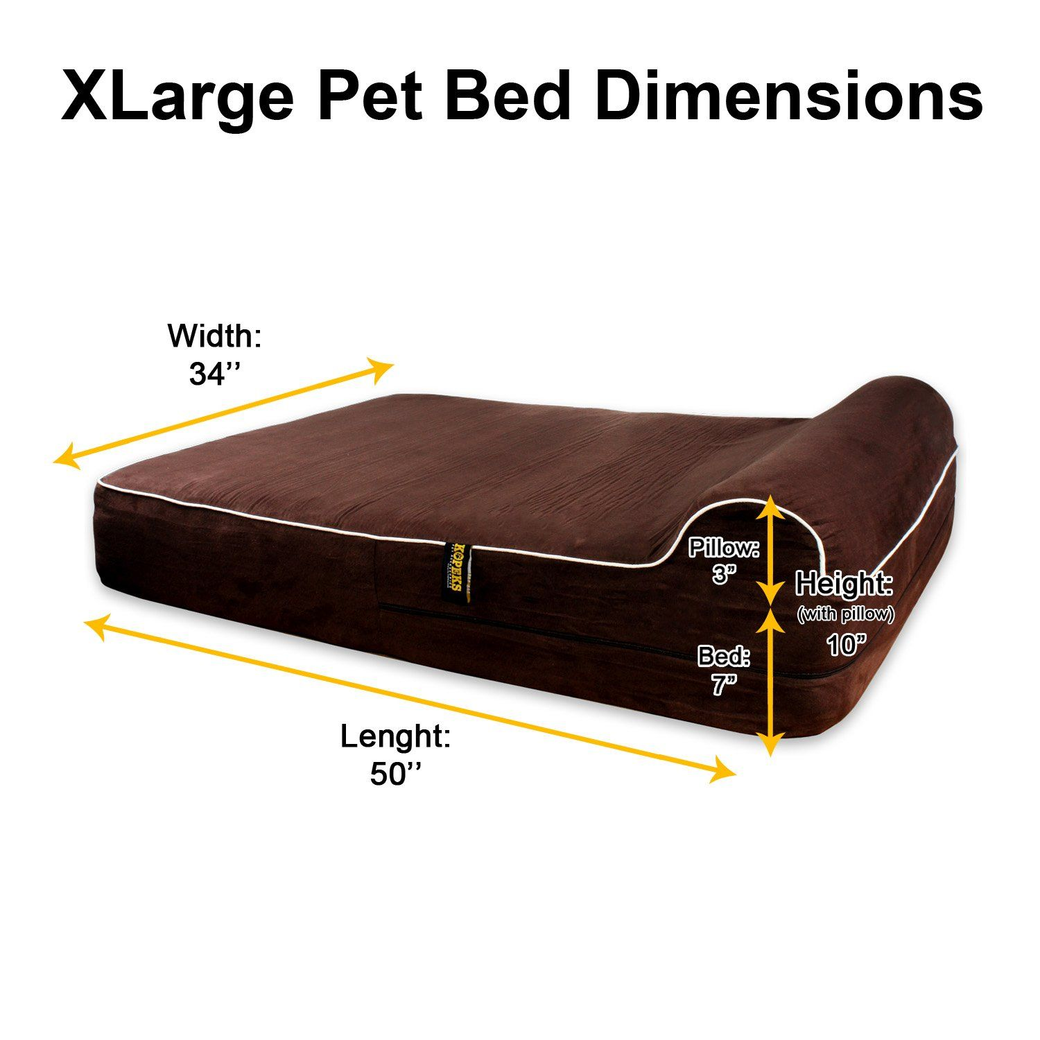 Kopeks Orthopedic Memory Foam Dog Bed With Pillow And Waterproof Liner Dogbeds Memory Foam Dog Bed Dog Bed Large Dog Bed