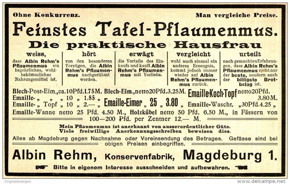 Original-Werbung/ Anzeige 1905 - TAFEL - PFLAUMENMUS / KONSERVENFABRIK ALBIN…
