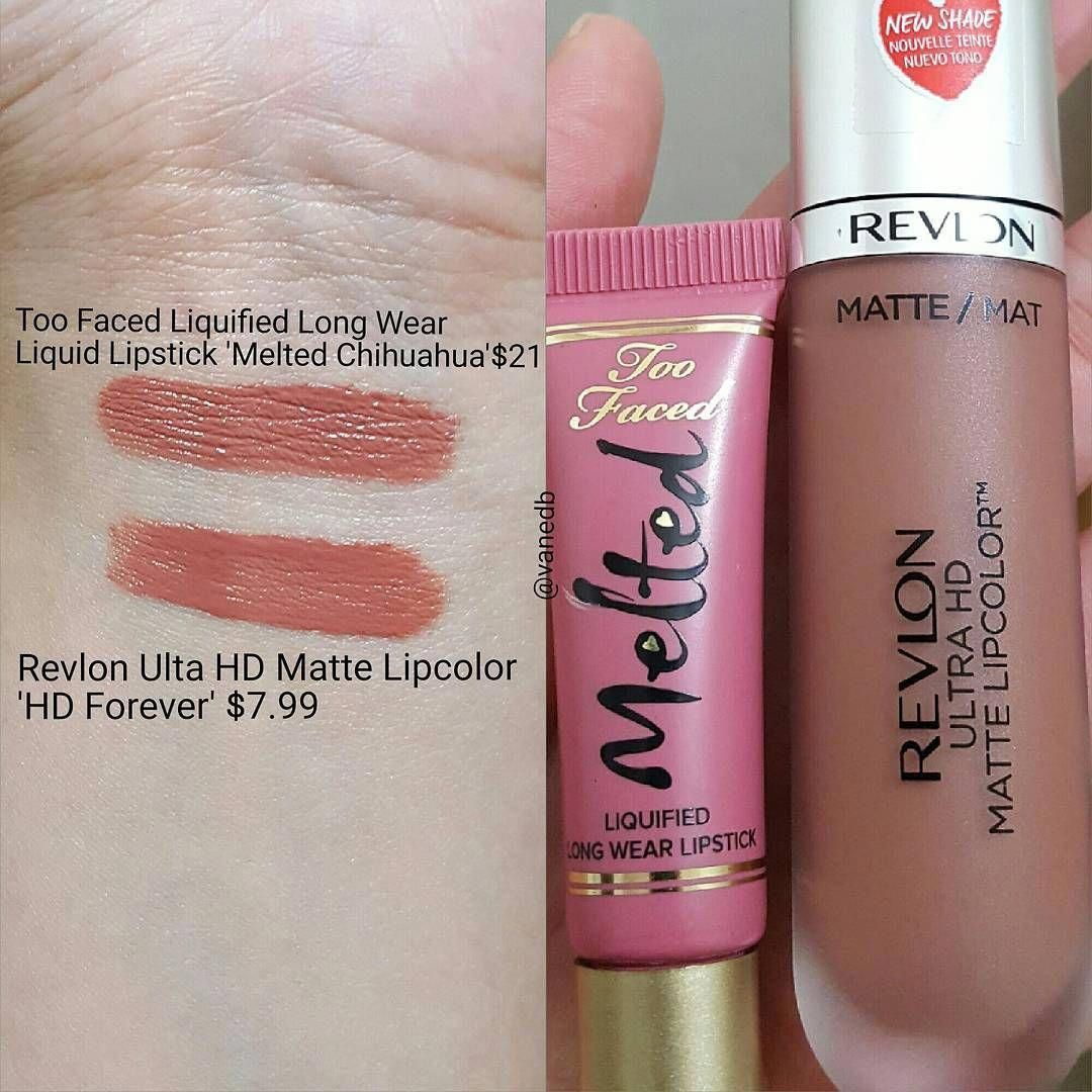 Too Faced Melted Chihuahua = Revlon HD Ultra Matte