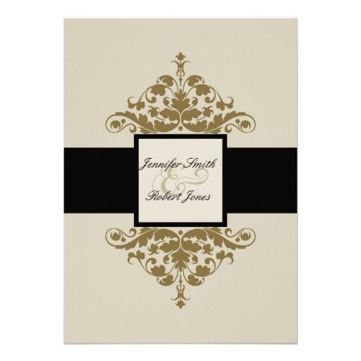DealsIvory Black and Gold Damask Wedding InvitationThis site is will advise you where to buy