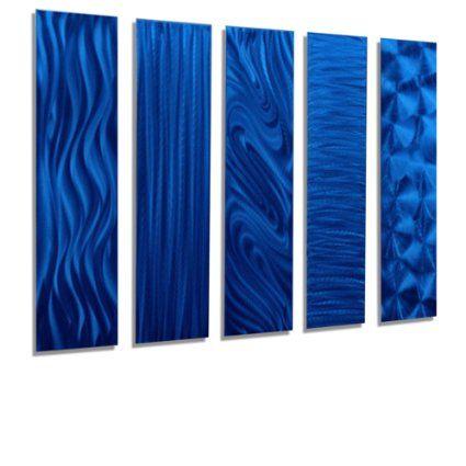 Blue Rectangular Metal Wall Art Accent - Multi Panel Wall - Modern ...
