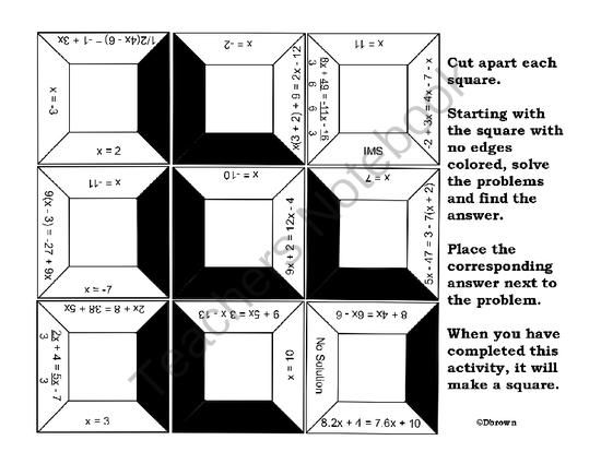 Equations With Variables On Both Sides Puzzle From Dawnmbrown On