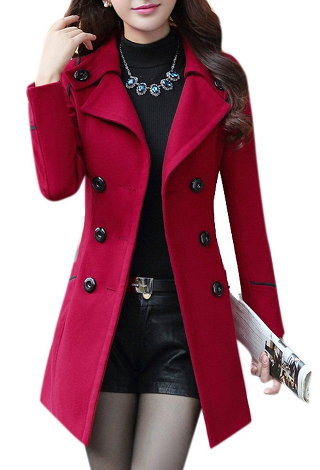 Womens Three Button Jacket Slim Wool Blend Coat Trench Overcoat Peacoat Outwear