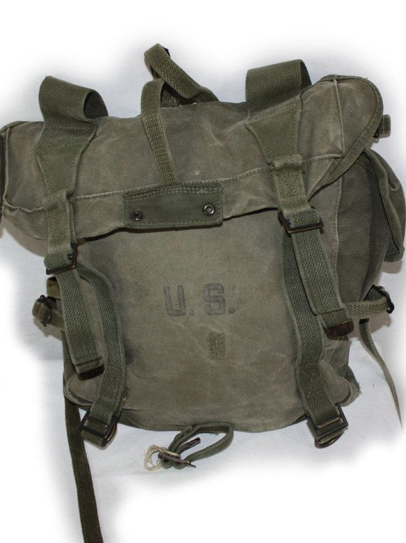 e9fe939da0f4 Vintage M1945 field pack used during WWII and Korean War also the  inspiration for G.I. Joes backpack in 1964.