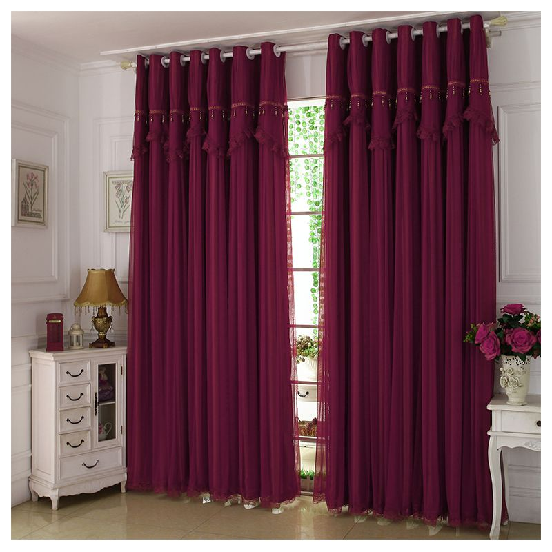 Wine Color Maroon Curtains Lace Sheer