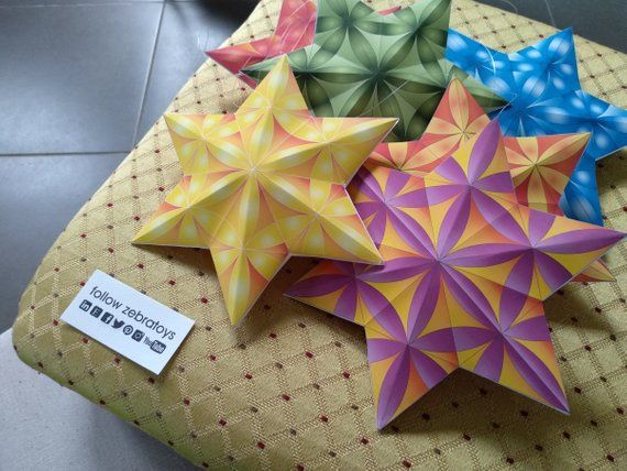 3D Paper Craft Yellow Star of David-Hanukkah Decorations ...