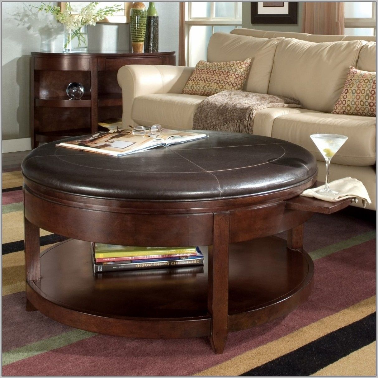 Round Coffee Table With Storage Cubes