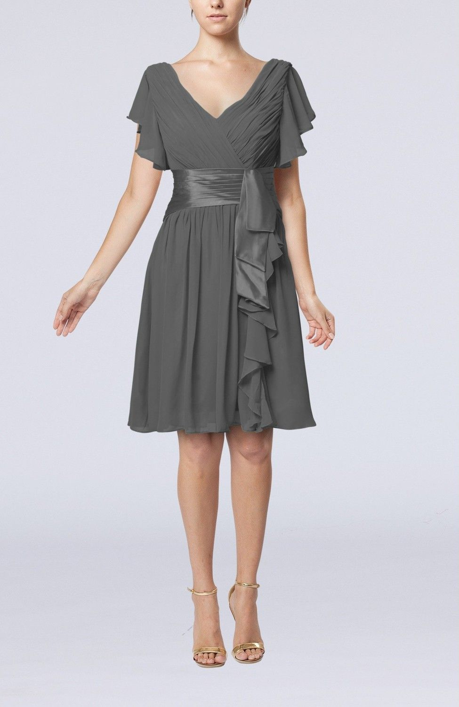 Grey guest dress romantic short sleeve zip up knee length short