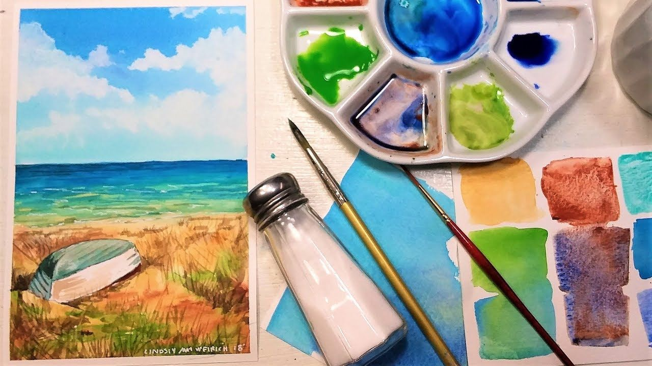Live Experiment Watercolor Painting With Salt Water Youtube