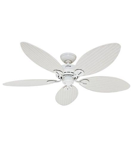 Hunter Fan 54097 Bayview 54 Inch White With White Wicker White Palm Leaf Blades Outdoor Ceiling Fan Hunter Ceiling Fans Ceiling Fans Without Lights White Ceiling Fan