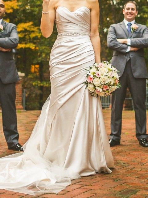 Oyster Wedding Dress With Grey Groom Suit And Cream Ivory Pink Flowers