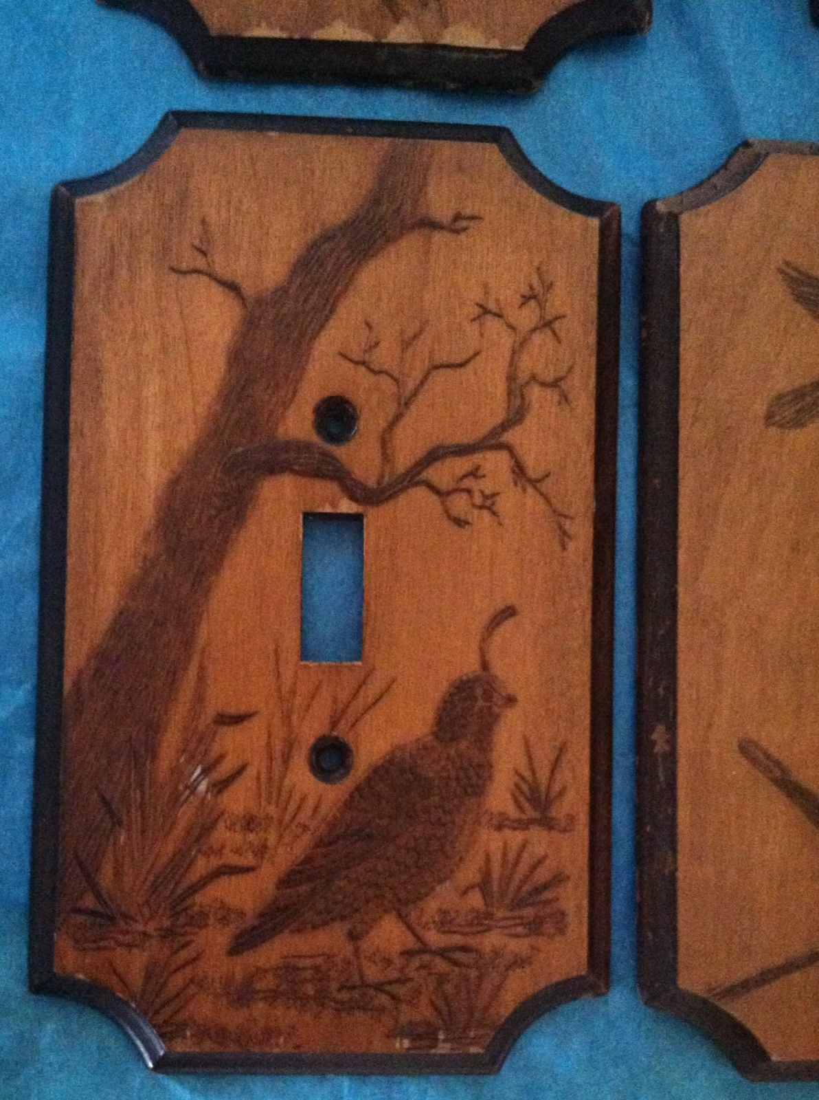 4 WOOD LIGHT SWITCH PLATES BIRDS NATURE Detailed Wood