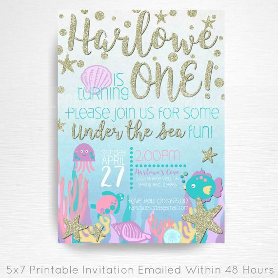 Under the Sea Ocean Birthday Party Printable Invitation YOU Print Silver Purple Blue Teal Pink  This is an emailed file, nothing will be shipped to you. Please include your childs name, age and party details in the notes to seller section at checkout.  We will email your high-resolution, print-ready file within 48 hours of receiving your party details and photo (if photo invitation has been purchased please email your photo to amy [at] printpopparty.com).  Your invite will be formatted to…