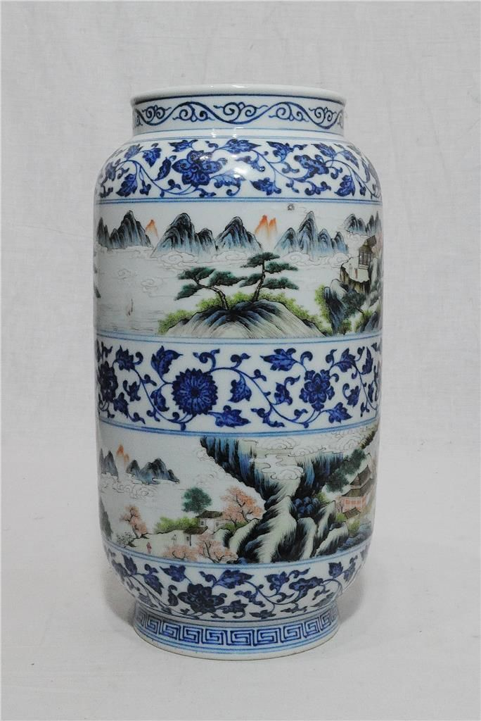 Chinese 1920th C Blue And White Sleeve Vase Rolwagen In