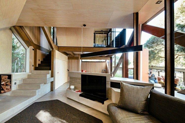 Das Interieur Der Kche Und Des Wohnzimmer Mit Treppe Aus Beton