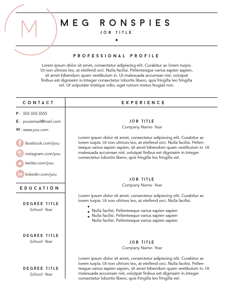 FREE FILLABLE RESUME TEMPLATE | Mpronspies.com |