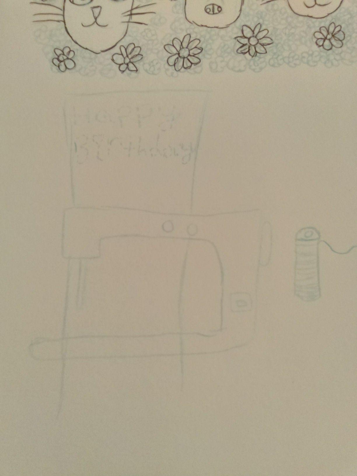 A blue pencil sketch of a family friend birthday card
