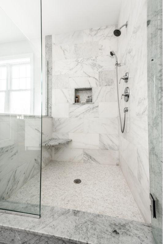 Modern Grey And White Master Bathroom Suite White Master