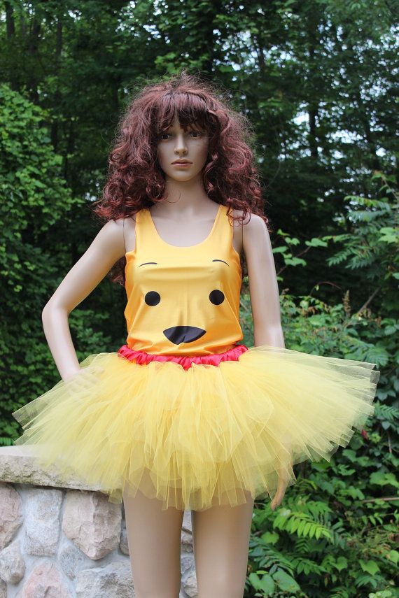 Golden Honey Yellow With Red Ribbon Finished Waist on a secure elastic band  with a Pooh Racer Back Tank Top. Great for Halloween Costume or Trip ... 53cc8fd17