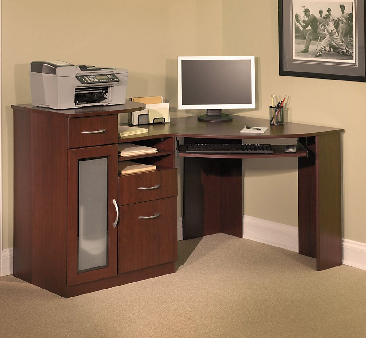 Nice Corner Computer Desks For Your Home Office Furniture : Appealing Bush  Vantage Harvest Cherry Corner Computer