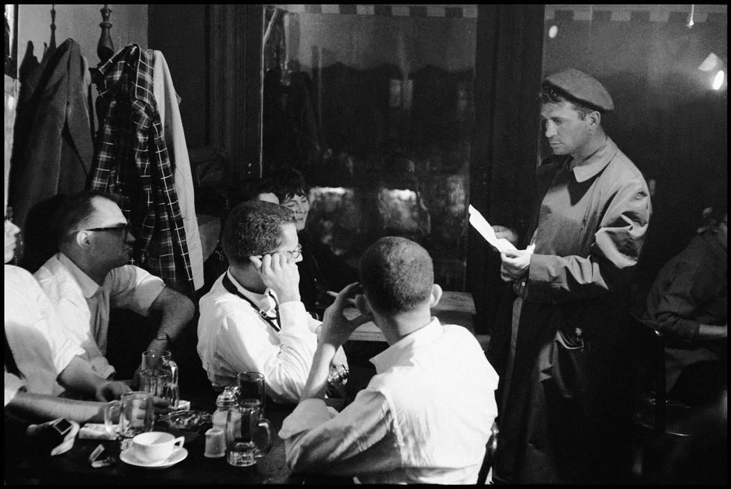 Jack Kerouac reading at the Seven Arts Cafe in New York, 1959.  Photograph by Burt Glinn / Magnum Photos