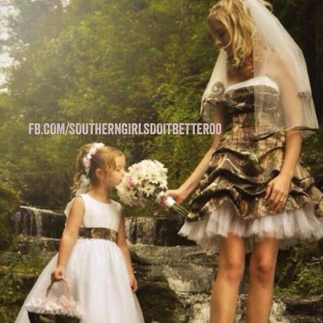 Bride With Camouflage Wedding Dress And Flower Girl Camo Ribbon Detail Like The Girls
