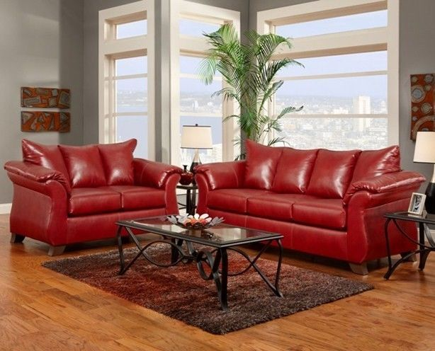 Sierra Red Living Room Sectional Beautiful Small Rooms Images Bonded Leather Sofa Loveseat Furniture Set Contemporary