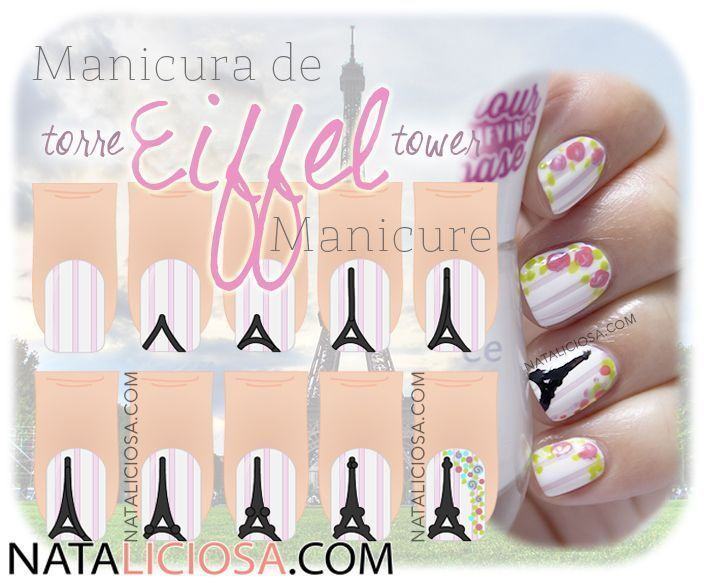 Tutorial - Manicura de Torre Eiffel con Flores   Torres eiffel ...