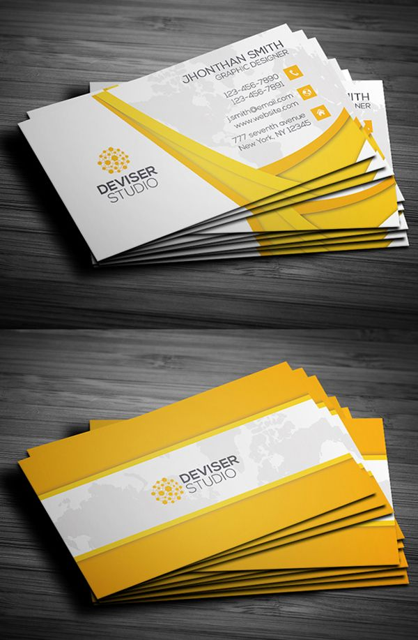 Yellow business card design business card pinterest cartes de new business cards psd templates design reheart Images