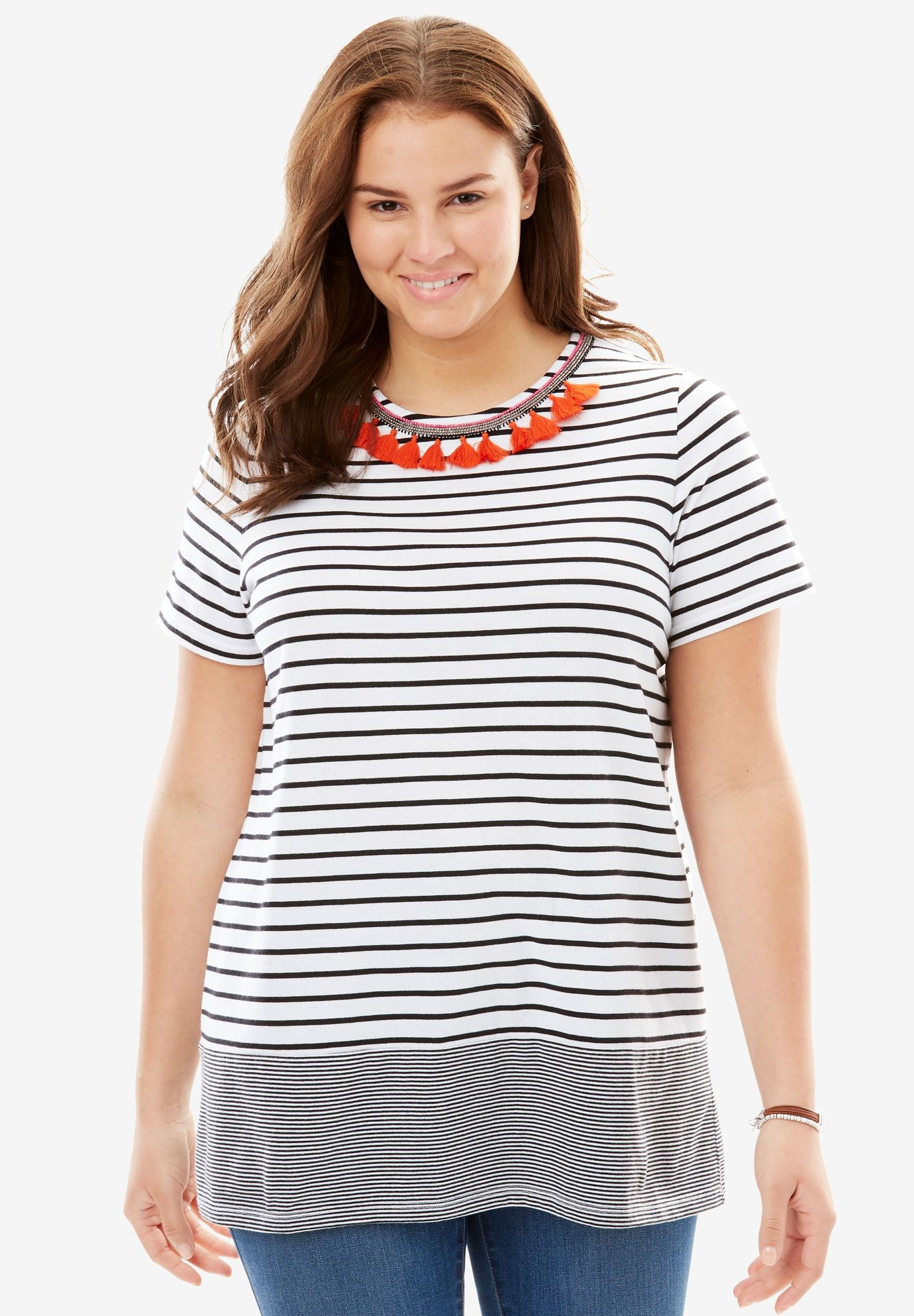 Tassel Accent Striped Tee, Black White Multi, Hi Res
