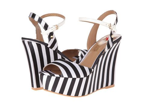 3bc72572c2d LOVE Moschino Striped Platform Wedge Sandal Black White - Zappos.com Free  Shipping BOTH Ways