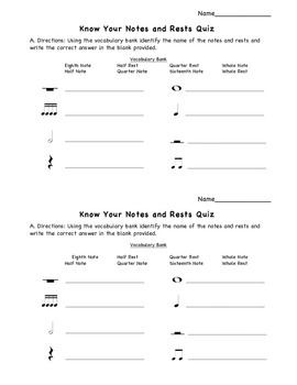 know your notes and rests quiz half page music classroom ideas