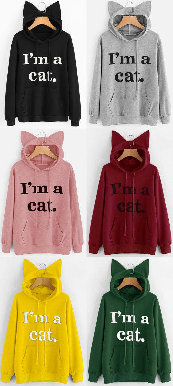 Front Pocket Letter Graphic Cat Hoodie | Sweatshirt outfit