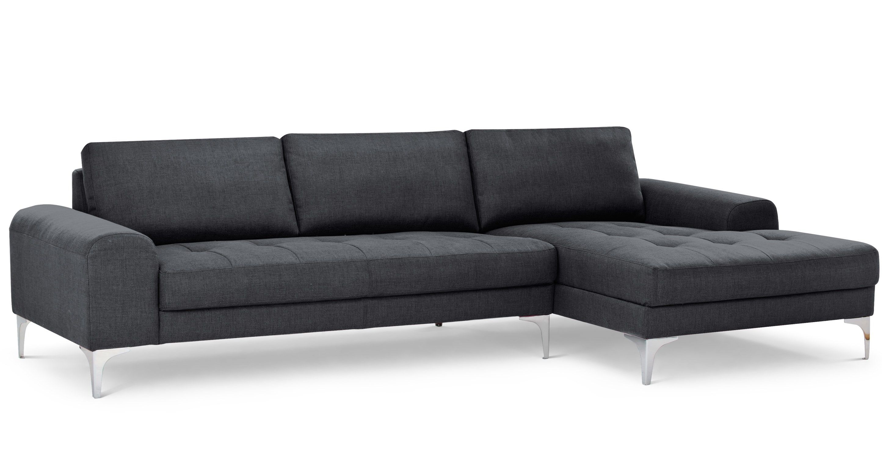 Vittorio Right Hand Facing Corner Sofa Group In Anthracite Grey In