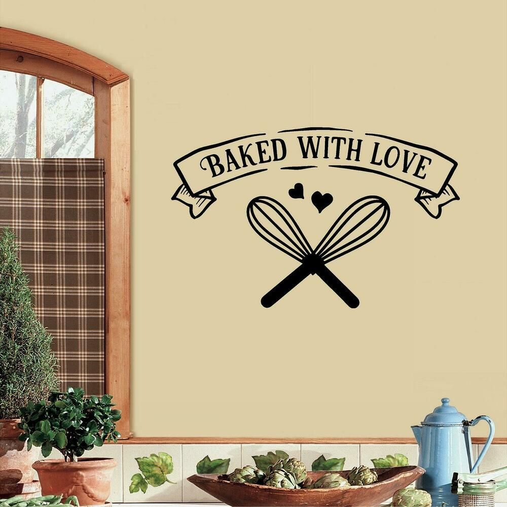 baked with love kitchen vinyl wall decal sticker home decor oracal kitchen vinyl wall decals on kitchen decor quotes wall decals id=22945