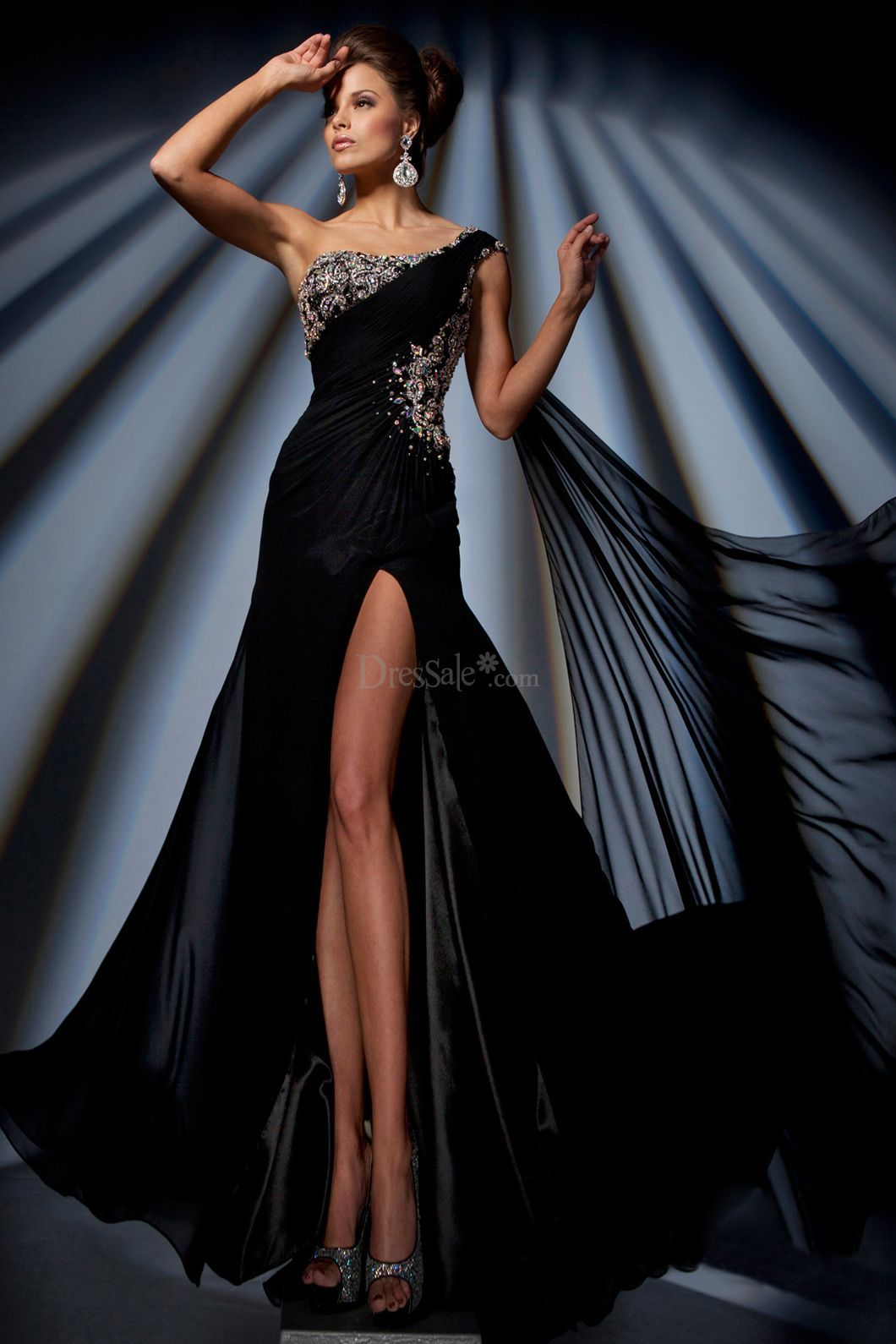 Alluring oneshoulder capped sheath organza prom dress with slit