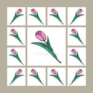 Vaaleanpunainen+tulppaani,+silkkihuivi