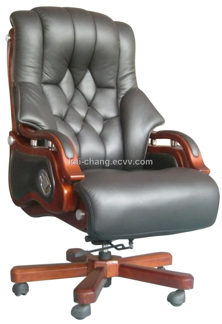Grey Leather Executive Office Chair